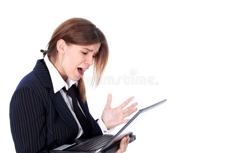 Femme chargée par crise d'affaires photographie stock