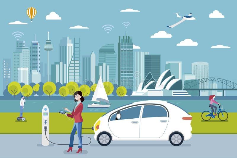 Femme chargeant une voiture électrique à Sydney illustration libre de droits