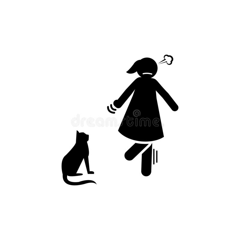 Femme, chat, ic?ne effray?e ?l?ment d'ic?ne n?gative de traits de caract?re Ic?ne de la meilleure qualit? de conception graphique illustration stock
