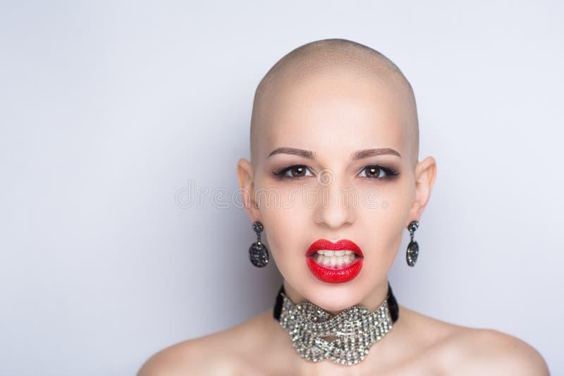 Femme chauve de beauté images stock