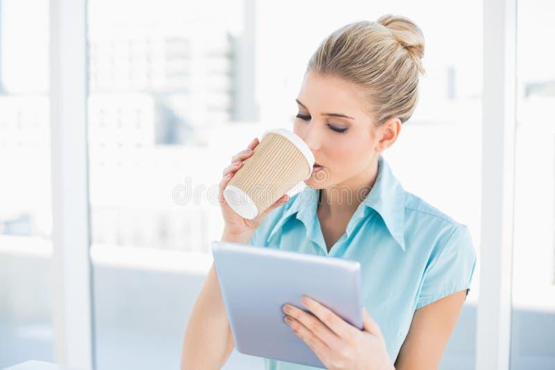 Femme chique paisible à l'aide du comprimé tout en buvant du café photos libres de droits