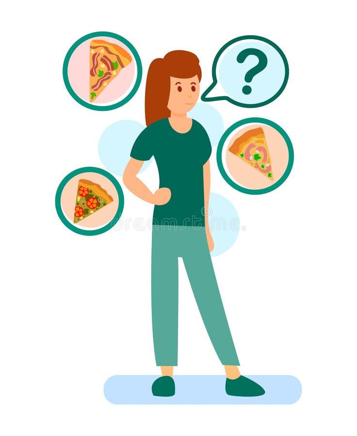 Femme choisissant l'illustration de vecteur de couleur de pizza illustration stock