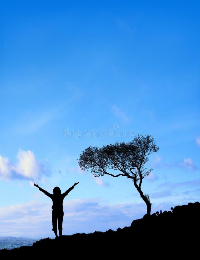 Femme (ciel de Sun) image libre de droits