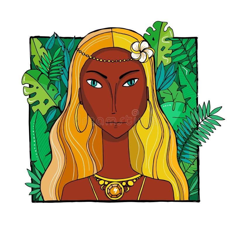 Femme color?e avec des feuilles et des fleurs photographie stock