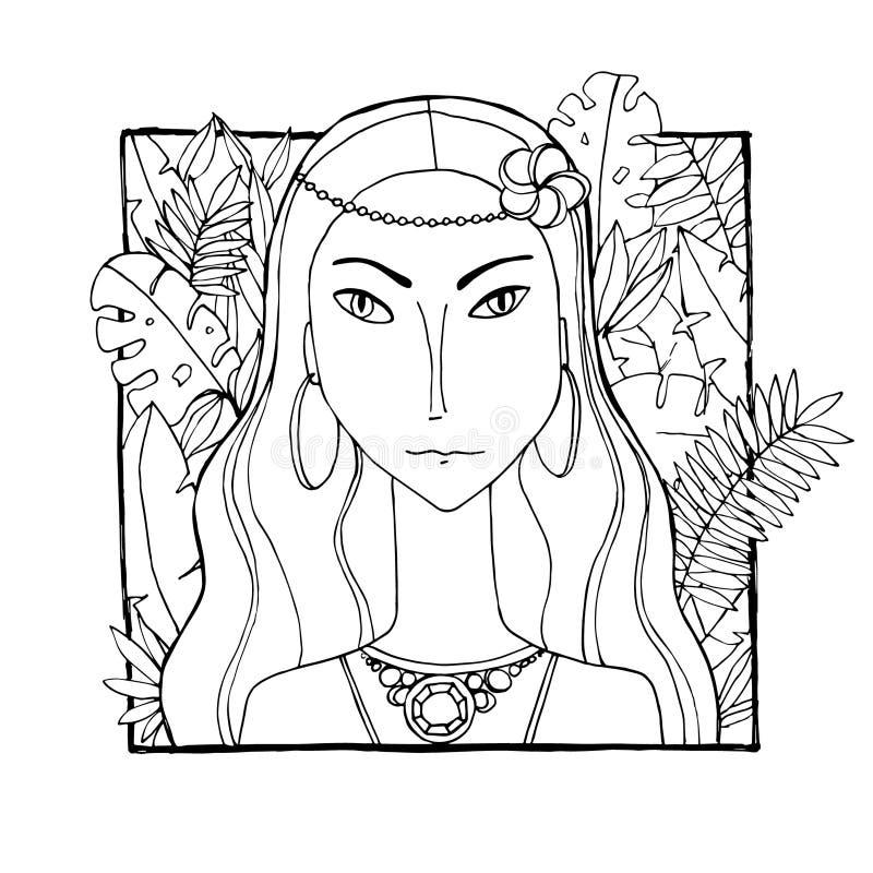 Femme color?e avec des feuilles et des fleurs images stock