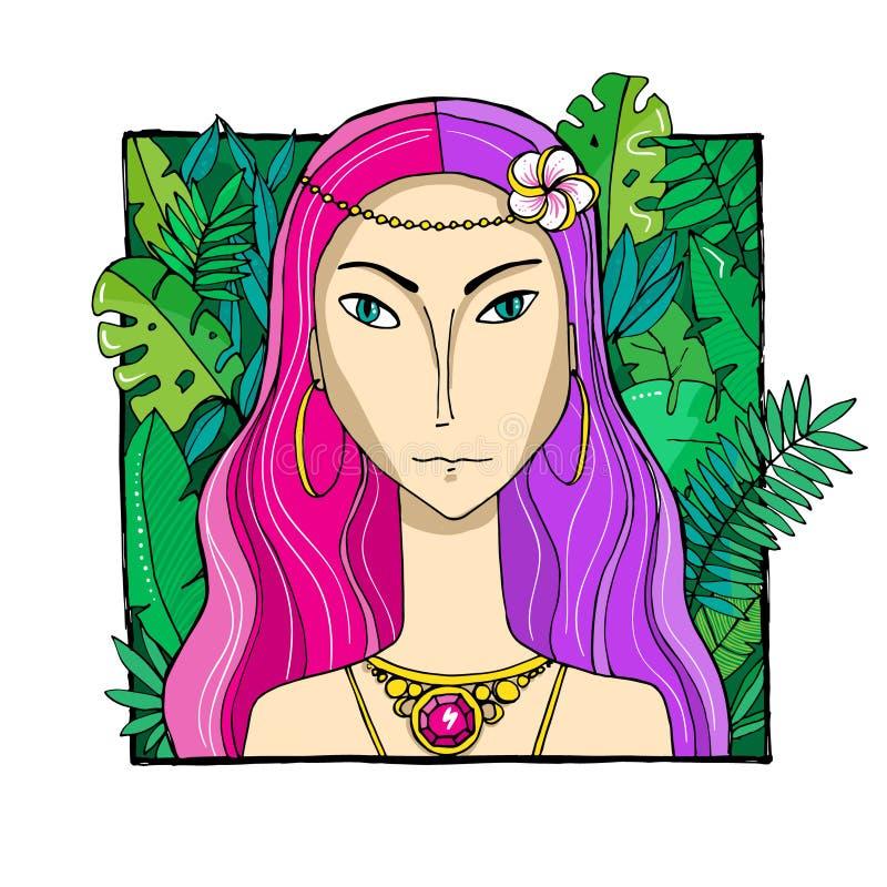 Femme color?e avec des feuilles et des fleurs photo libre de droits