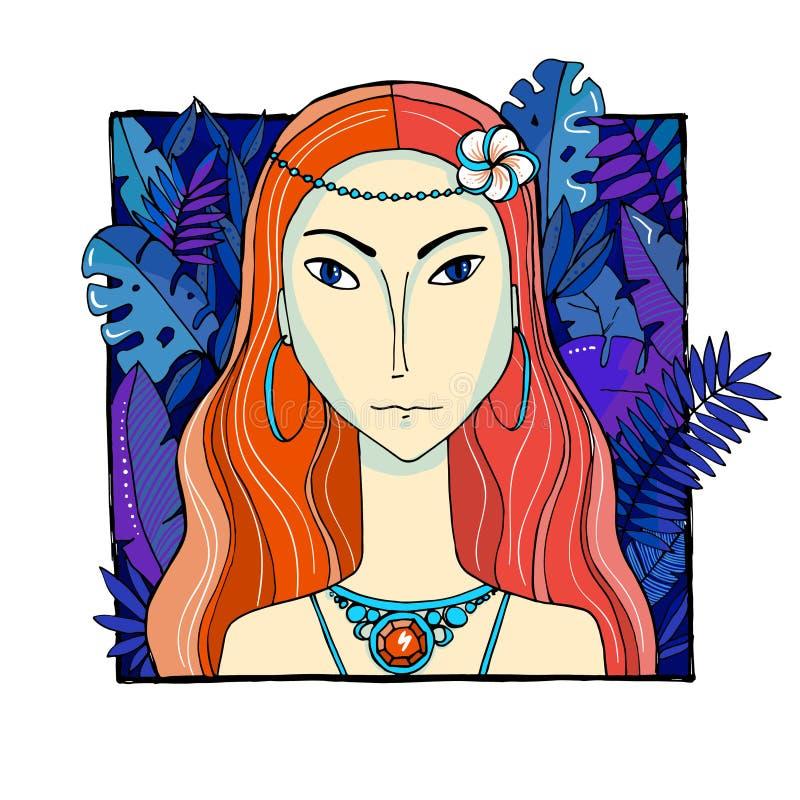 Femme color?e avec des feuilles et des fleurs photos stock