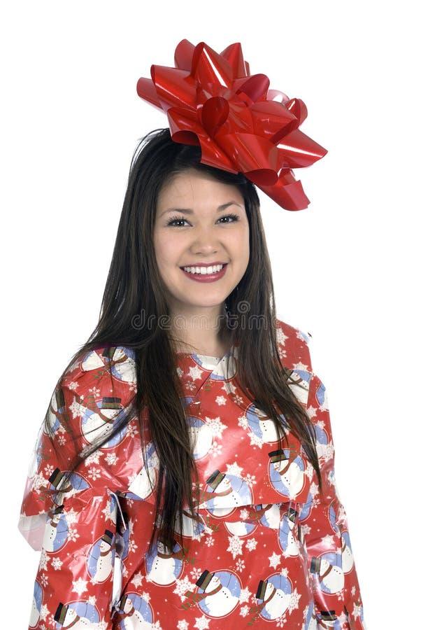 Femme comme cadeau de Noël image stock