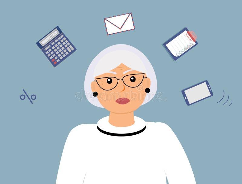 Femme comptable de femme agée magnifique très occupée avec beaucoup de différentes pensées au sujet de travail illustration de vecteur