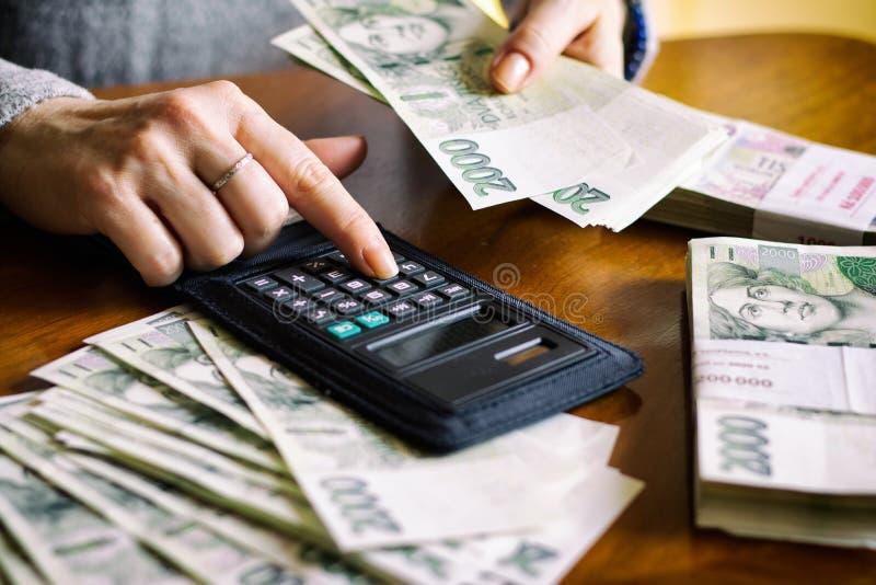 Femme comptant l'argent photographie stock libre de droits