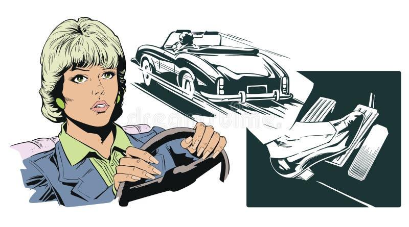 Femme conduisant son véhicule Illustration courante illustration libre de droits