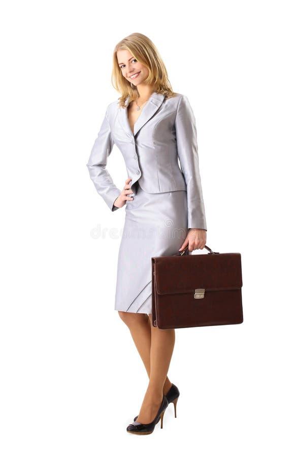 Femme confiant d'affaires retenant une serviette photos libres de droits