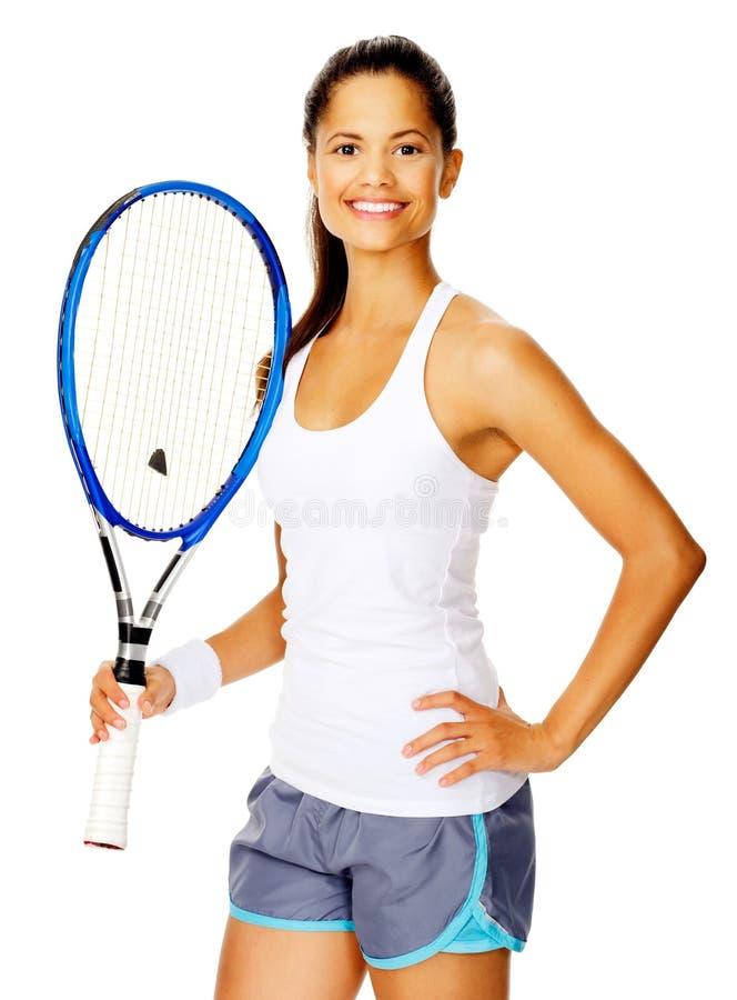 Femme confiante de tennis image stock