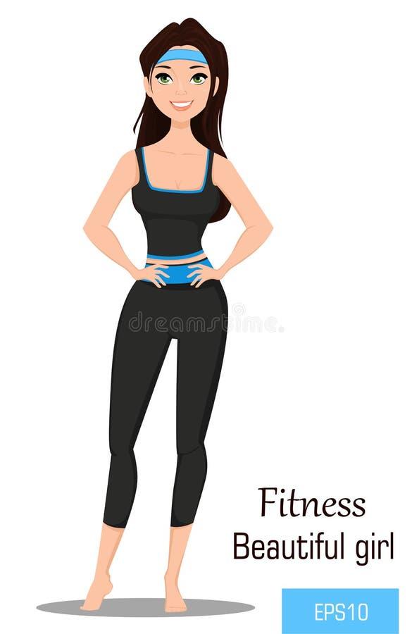 Femme convenable dans les vêtements de sport Belle fille de forme physique de brune faisant des exercices nu-pieds illustration libre de droits