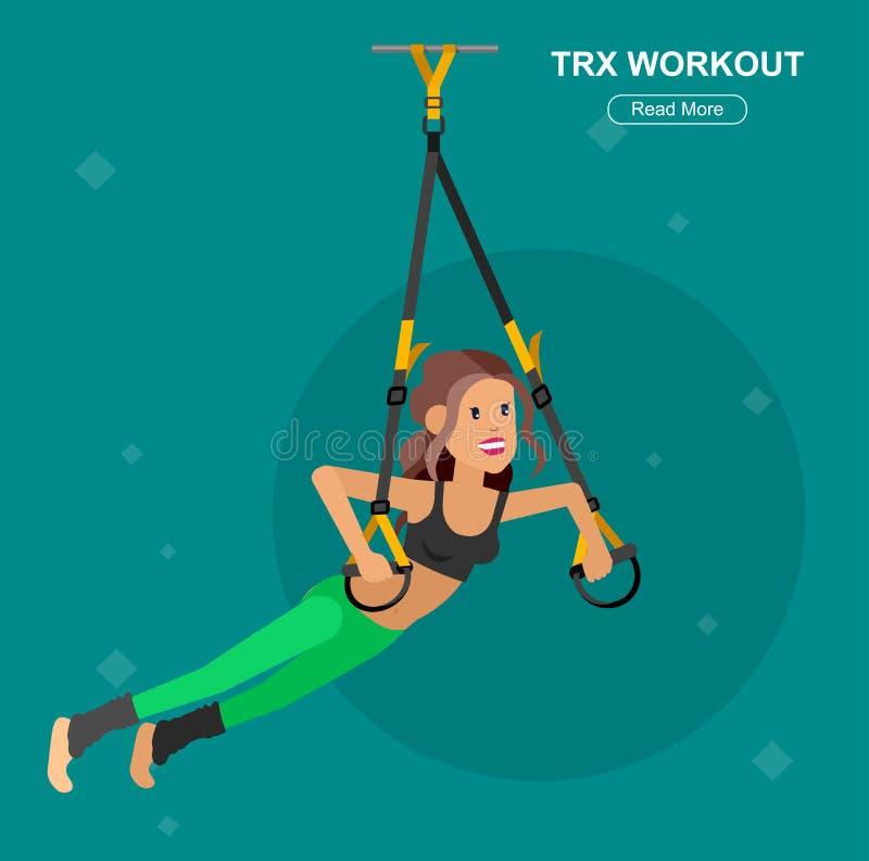 Femme convenable de caractère affectée par vecteur et formation de TPX illustration stock