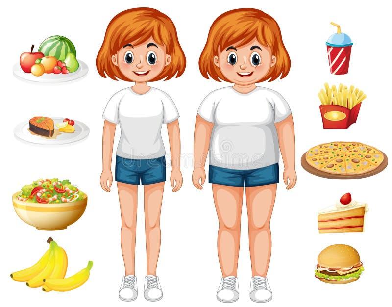 Femme convenable et de poids excessif avec la nourriture illustration stock
