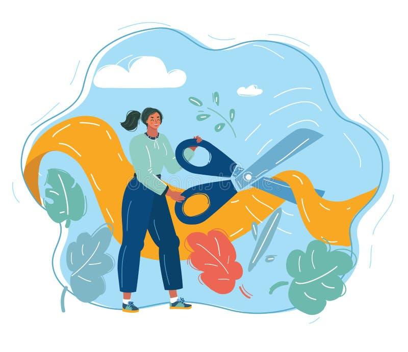 Femme coupant le ruban rouge illustration de vecteur