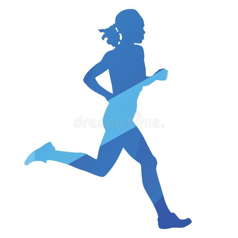 Femme courante, course, essai illustration de vecteur