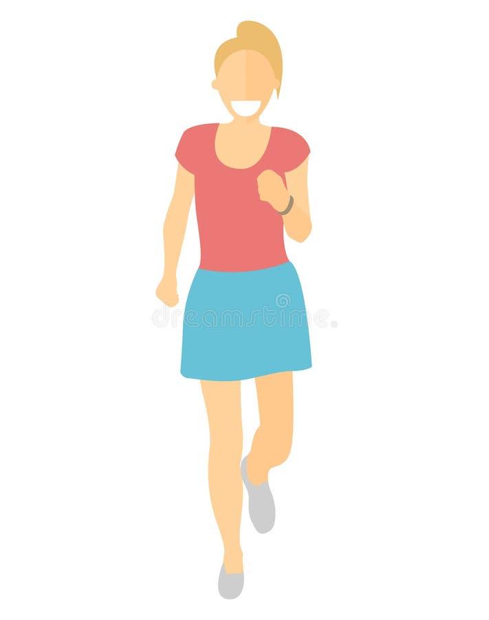 Femme courante de conception plate Course de fille, vue de face Dirigez l'illustration pour le mode de vie sain, la perte de poid illustration stock