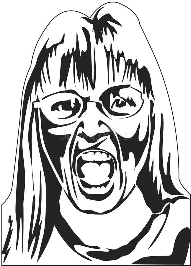 Femme criant illustration de vecteur