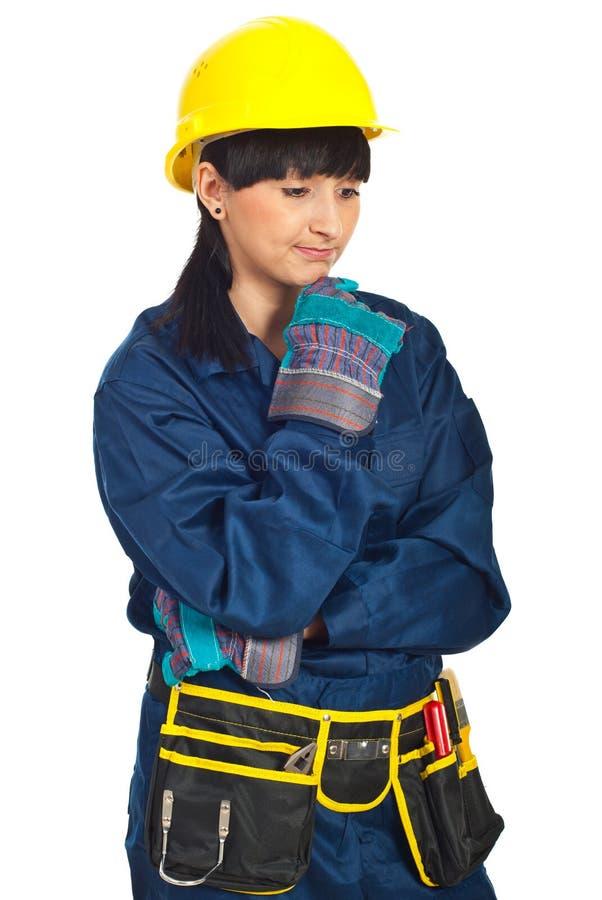 Femme déçue d'ouvrier de constructeur images libres de droits