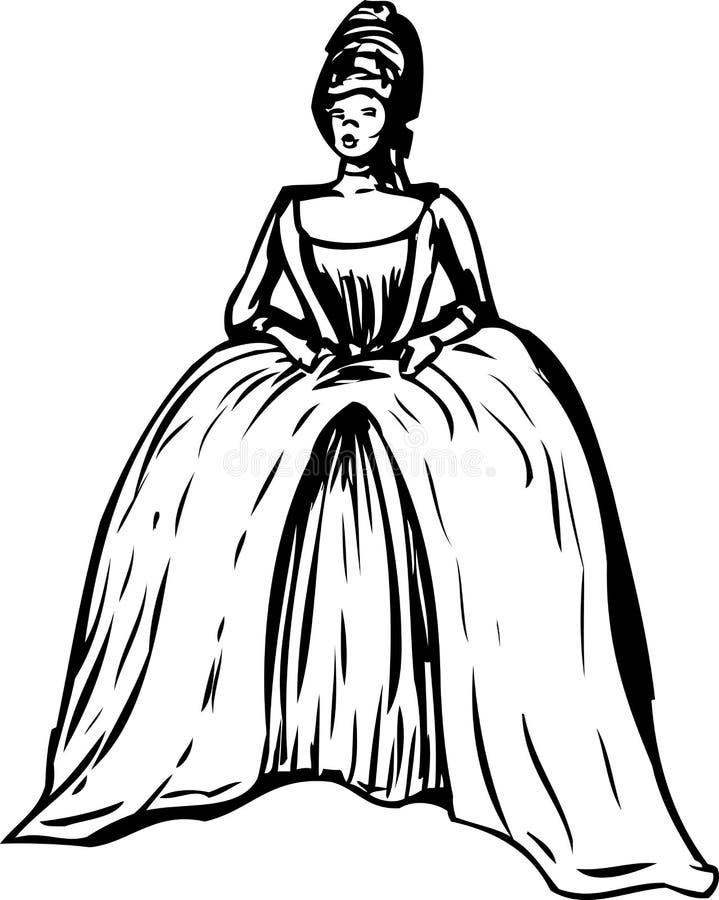 Femme décrite avec la robe et le 'stomacher' ronds illustration stock