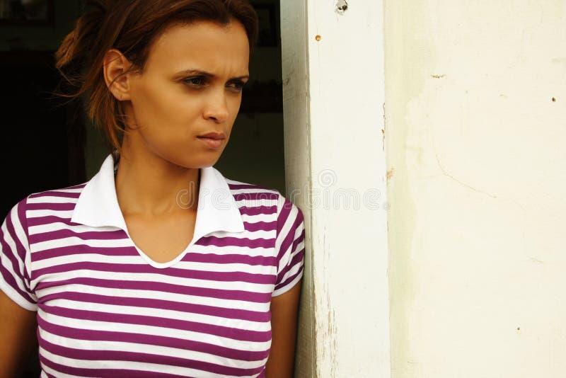 Femme déprimée d'afro-américain photo stock