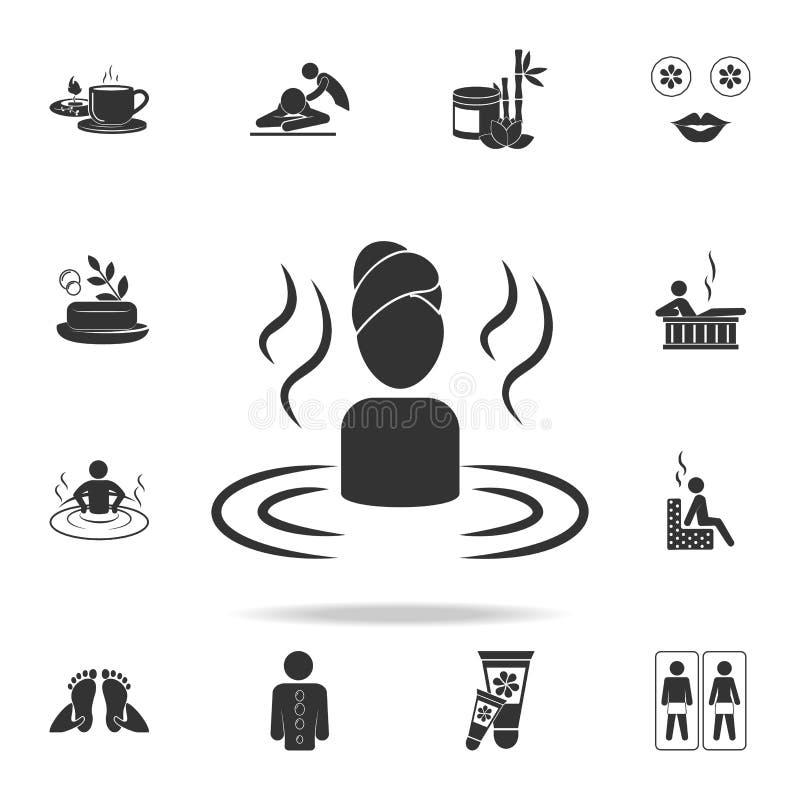 Femme détendant dans l'icône de l'eau Ensemble détaillé d'icônes de STATION THERMALE Conception graphique de qualité de la meille illustration libre de droits