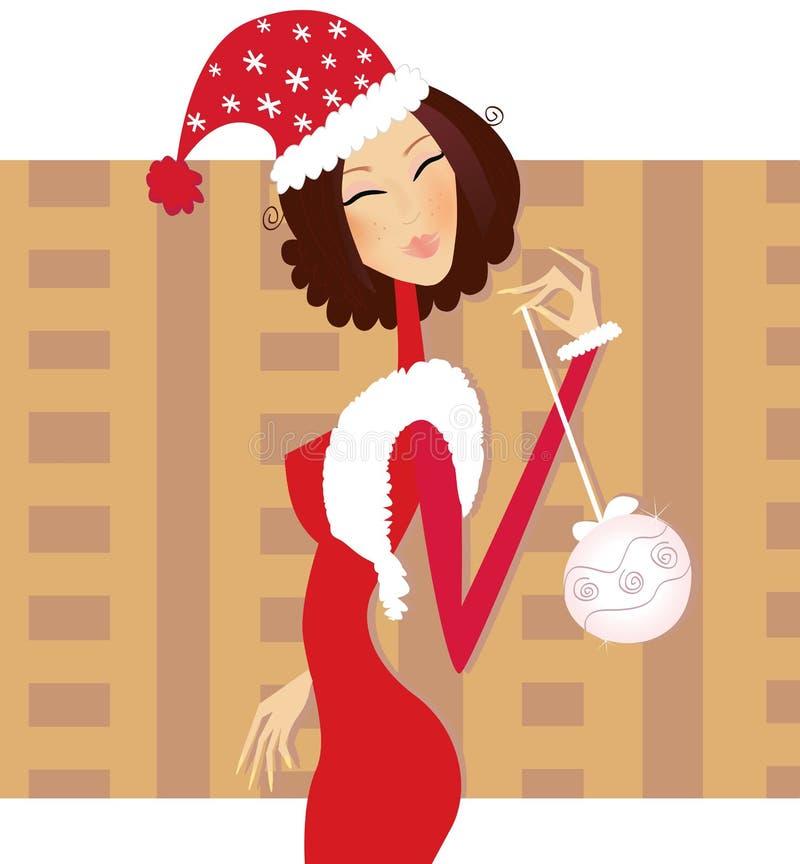 Femme d'âsantaâ de Noël illustration stock