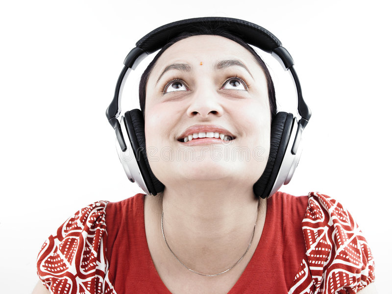 femme d'écouteurs photographie stock
