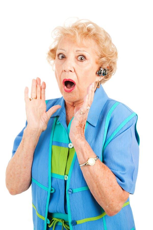 femme d'aîné de bavardage de portable photos libres de droits