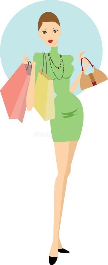 Femme d'achats illustration stock
