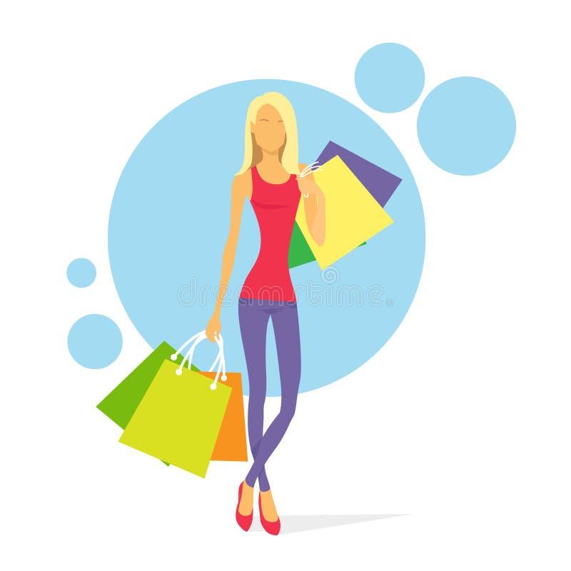 Femme d'achats avec le vecteur de sacs illustration stock