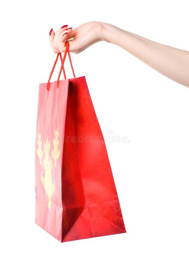 femme d'achats de fixation de main de sac photo libre de droits