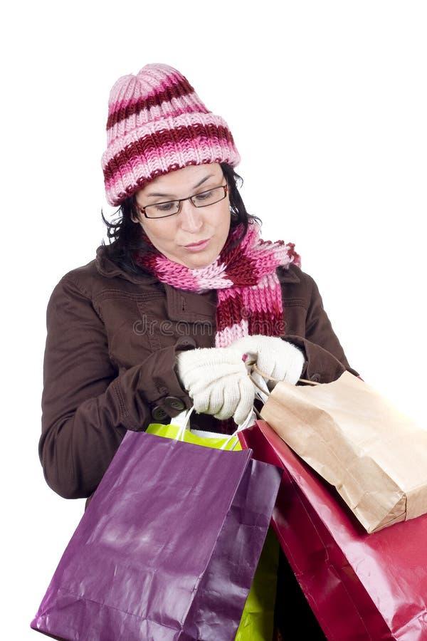 Femme d'achats de Noël photo stock