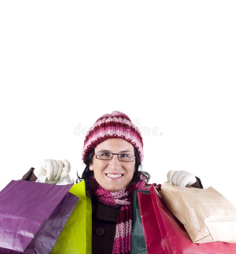 Femme d'achats de Noël images stock