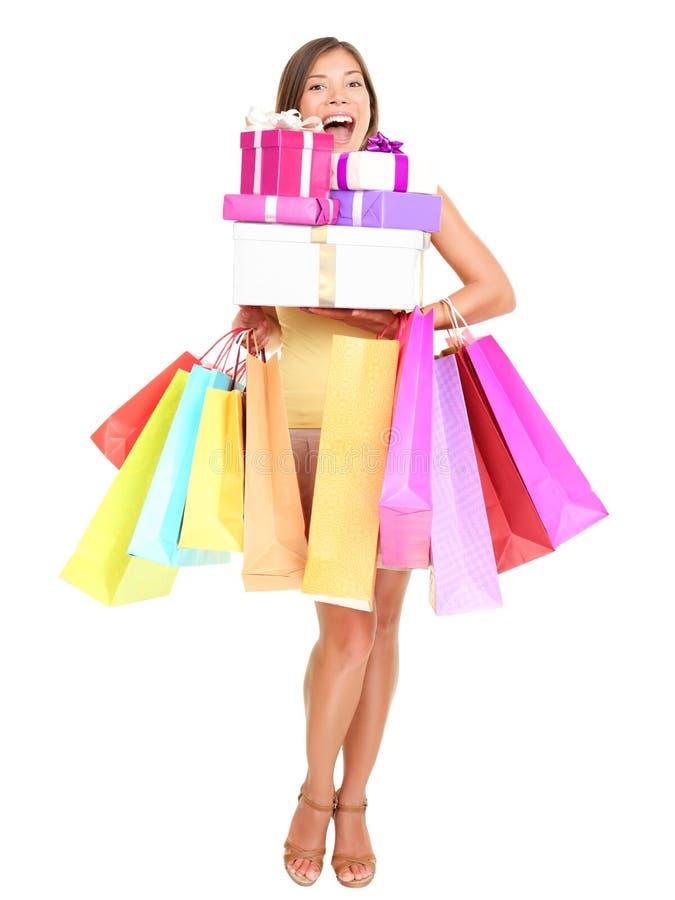 Femme d'achats de Shopaholic photos libres de droits