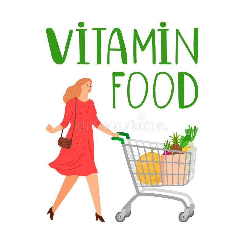 Femme d'achats Fille avec le caddie concept de nourriture de vitamine Illustration de vecteur d'?picerie illustration stock