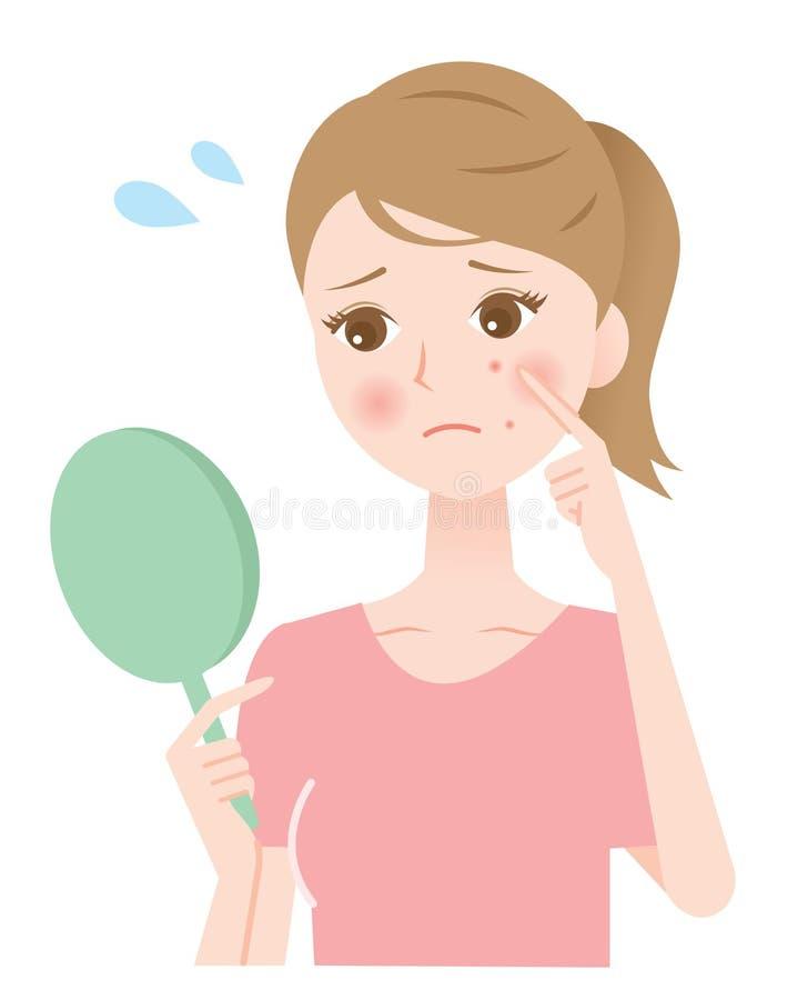 femme d'acné illustration de vecteur