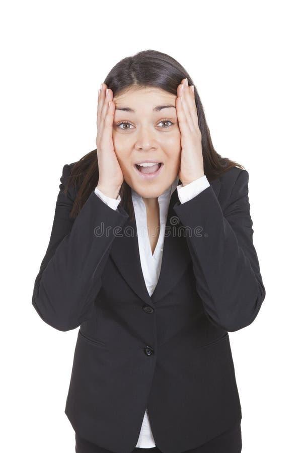 Femme d'affaires étonnée photographie stock