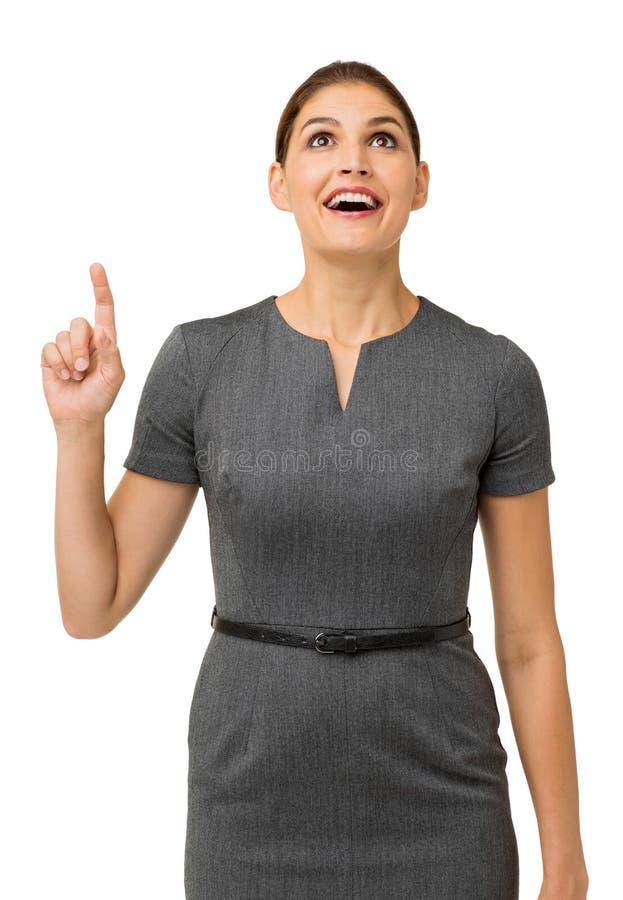 Femme d'affaires étonnée With An Idea recherchant image libre de droits