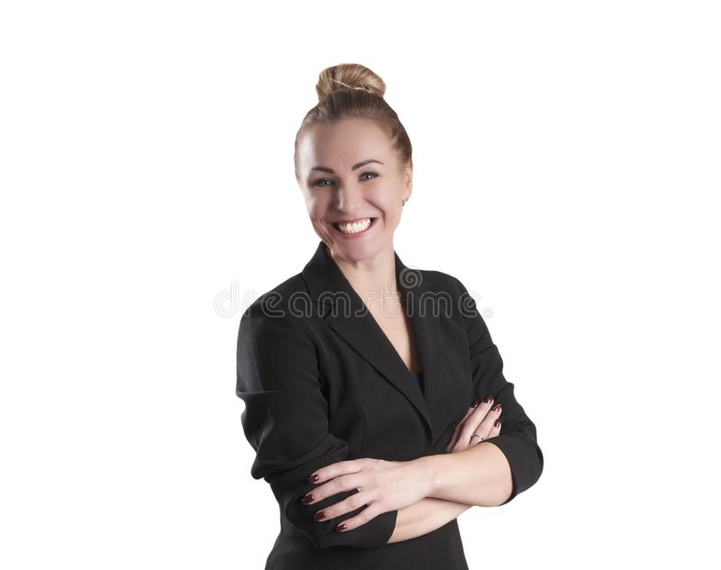 Femme d'affaires adulte, dans un portrait de sourire de veste photo libre de droits