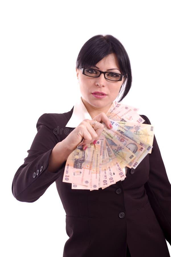 Femme d'affaires affichant des billets de banque images stock