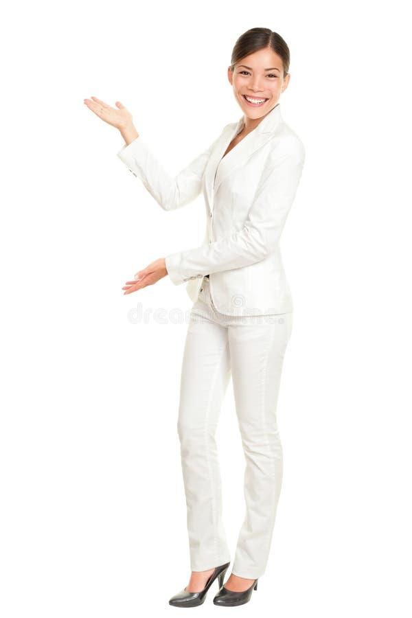 Femme d'affaires affichant l'accueil photo libre de droits