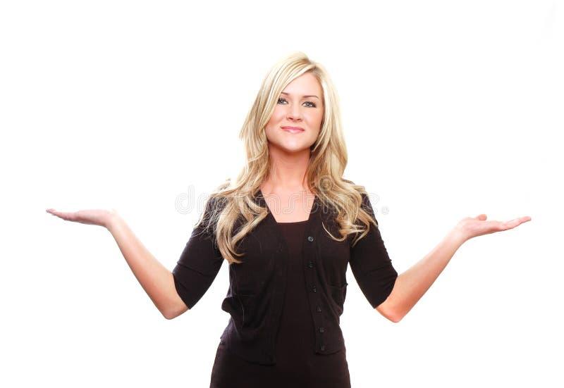 Femme d'affaires affichant quelque chose images libres de droits
