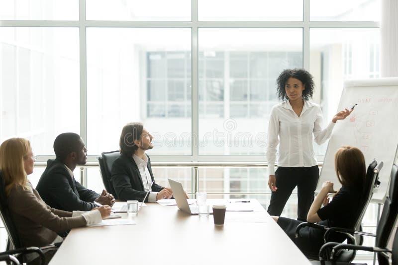 Femme d'affaires d'afro-américain présentant l'exposé à l'exécutif photo libre de droits