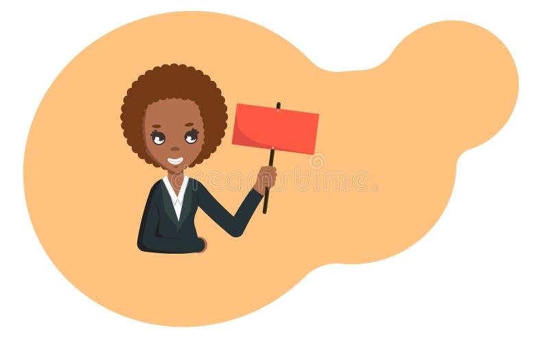 Femme d'affaires d'afro-américain tenant le panneau vide de signe Illustration plate de vecteur avec Copyspace illustration libre de droits