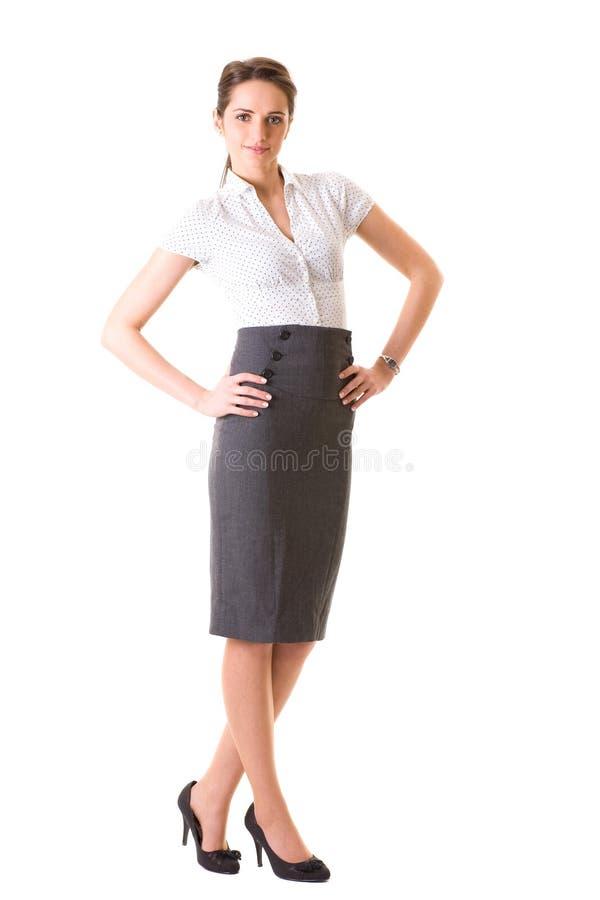 Femme d'affaires attirante dans la chemise blanche de point de polka image libre de droits