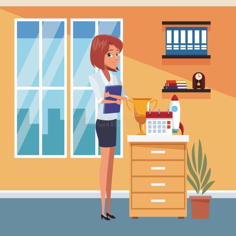 Femme d'affaires au bureau illustration de vecteur