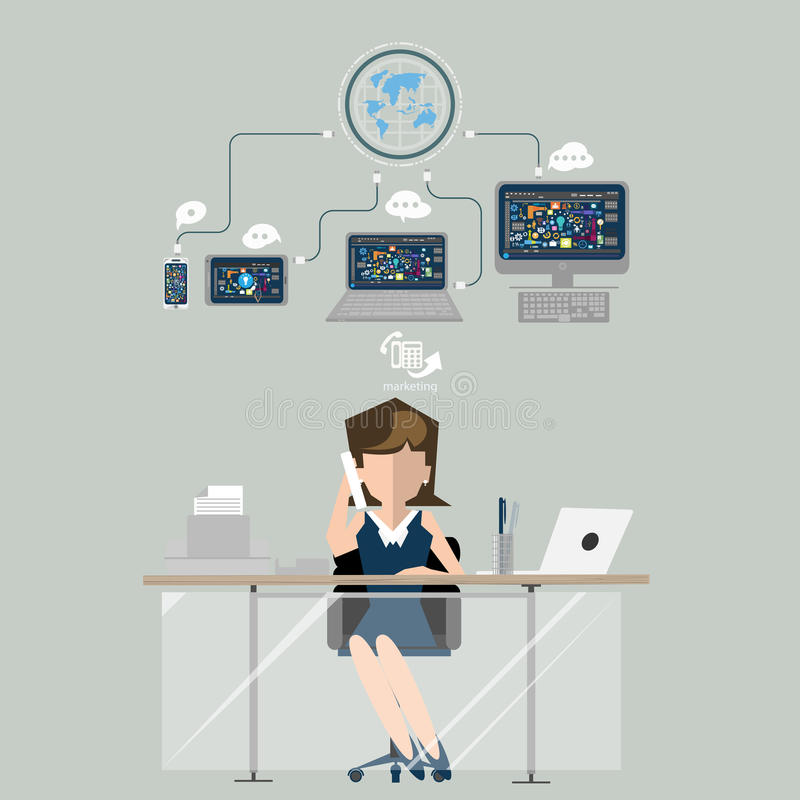 Femme d'affaires au marketing de travail Illustration plate de conception illustration stock